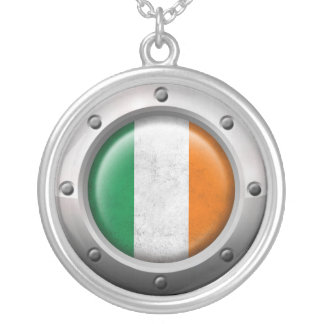 Industrial Irish Flag with Steel Graphic Custom Necklace