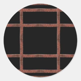 Industrial Iron Grid Classic Round Sticker