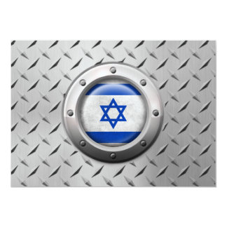 """Industrial Israeli Flag with Steel Graphic 5"""" X 7"""" Invitation Card"""