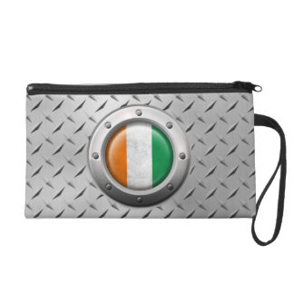 Industrial Ivory Coast Flag with Steel Graphic Wristlet Purses