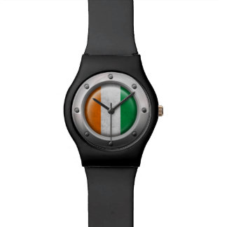 Industrial Ivory Coast Flag with Steel Graphic Watch
