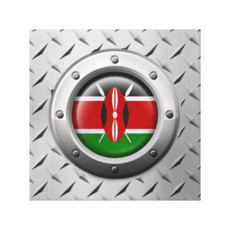 Industrial Kenyan Flag with Steel Graphic Canvas Prints