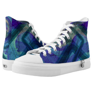 Industrial Landscape Abstract Hightop ZIPZ Printed Shoes