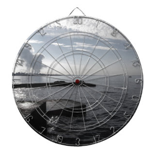 Industrial landscape along the coast Air polluting Dartboard With Darts