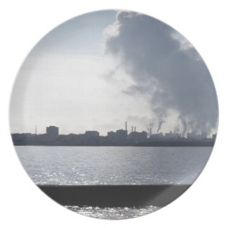Industrial landscape along the coast Air polluting Melamine Plate