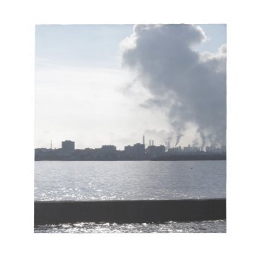 Industrial landscape along the coast Air polluting Notepad