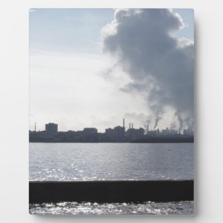 Industrial landscape along the coast Air polluting Plaque