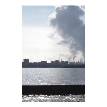 Industrial landscape along the coast Air polluting Stationery