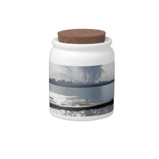 Industrial landscape along the coast candy jar
