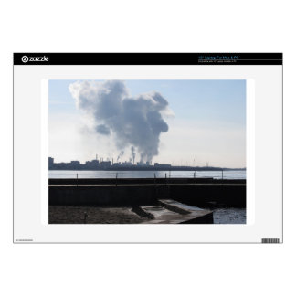 Industrial landscape along the coast decal for laptop