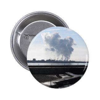 Industrial landscape along the coast pinback button