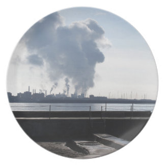 Industrial landscape along the coast plate