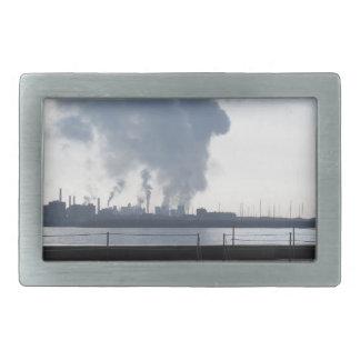 Industrial landscape along the coast rectangular belt buckle