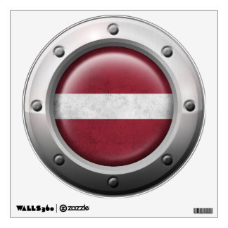 Industrial Latvian Flag with Steel Graphic Wall Decal