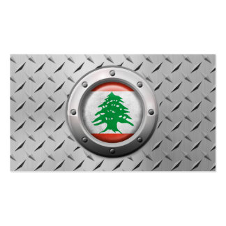 Industrial Lebanese Flag with Steel Graphic Business Card Template
