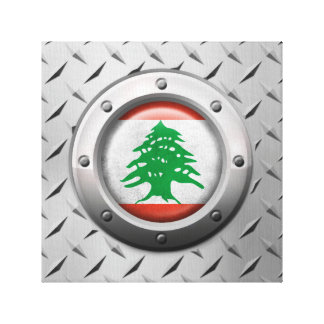 Industrial Lebanese Flag with Steel Graphic Gallery Wrapped Canvas