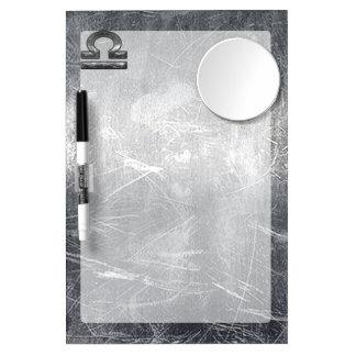 Industrial Libra Zodiac Sign in Silver Steel Dry Erase Board With Mirror