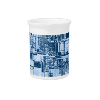 Industrial Light and Dark Blue Abstract Drink Pitcher
