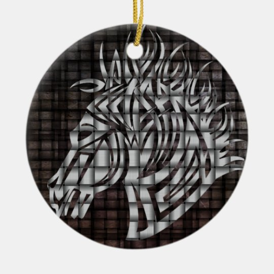 Industrial Like Stylized Horse Head Ceramic Ornament