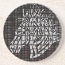 Industrial Like Stylized Horse Head Sandstone Coaster