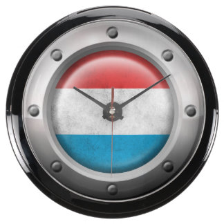Industrial Luxembourg Flag with Steel Graphic Fish Tank Clocks