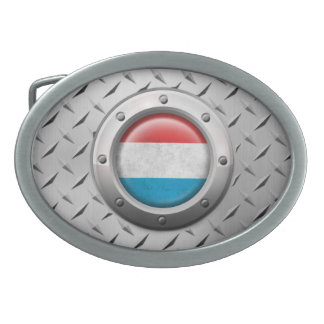 Industrial Luxembourg Flag with Steel Graphic Belt Buckle