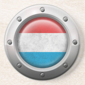 Industrial Luxembourg Flag with Steel Graphic Coaster