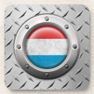 Industrial Luxembourg Flag with Steel Graphic Drink Coaster