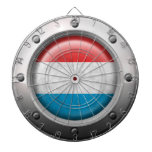 Industrial Luxembourg Flag with Steel Graphic Dartboard