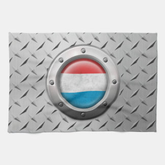 Industrial Luxembourg Flag with Steel Graphic Hand Towels