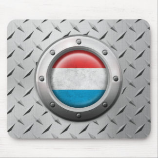 Industrial Luxembourg Flag with Steel Graphic Mousepads