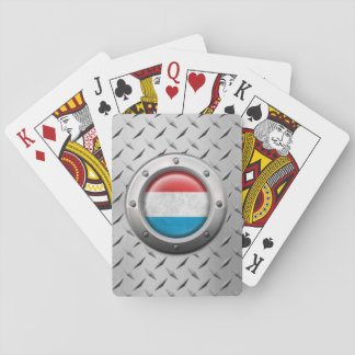 Industrial Luxembourg Flag with Steel Graphic Card Deck