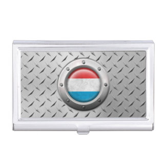 Industrial Luxembourg Flag with Steel Graphic Business Card Case