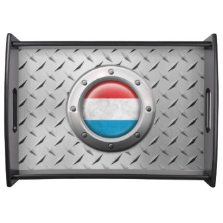 Industrial Luxembourg Flag with Steel Graphic Serving Tray