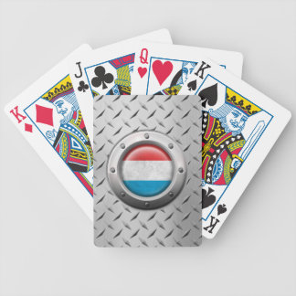 Industrial Luxembourg Flag with Steel Graphic Poker Deck