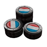 Industrial Luxembourg Flag with Steel Graphic Set Of Poker Chips