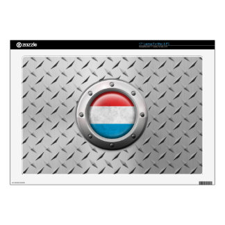 Industrial Luxembourg Flag with Steel Graphic Laptop Decal