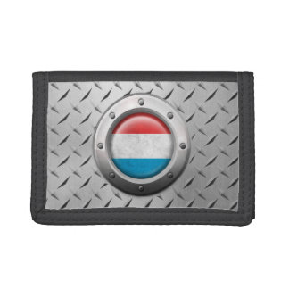 Industrial Luxembourg Flag with Steel Graphic Trifold Wallet