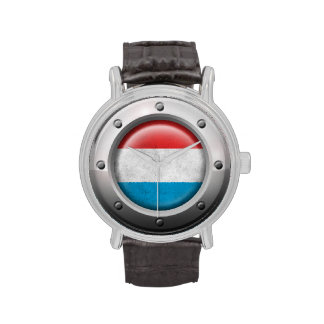 Industrial Luxembourg Flag with Steel Graphic Wrist Watches