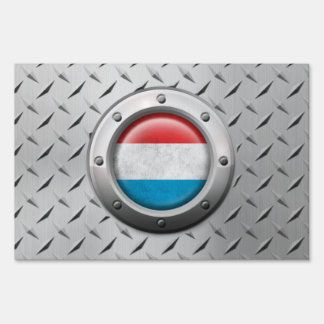 Industrial Luxembourg Flag with Steel Graphic Yard Signs