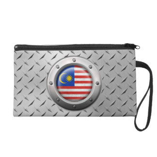 Industrial Malaysian Flag with Steel Graphic Wristlet Clutches