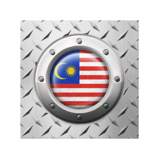 Industrial Malaysian Flag with Steel Graphic Stretched Canvas Print