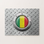 Industrial Mali Flag with Steel Graphic Puzzles