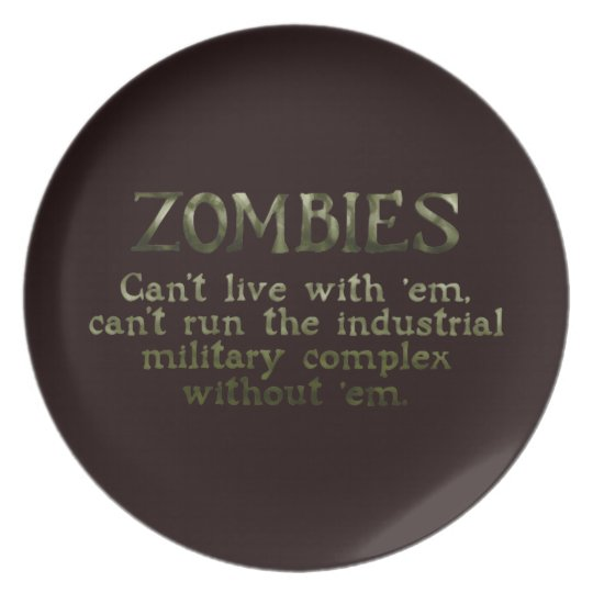 Industrial Military Complex Zombies Melamine Plate