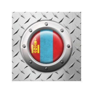 Industrial Mongolian Flag with Steel Graphic Stretched Canvas Print
