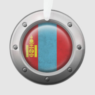 Industrial Mongolian Flag with Steel Graphic Ornament