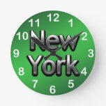 Industrial New York - On Green Round Clock