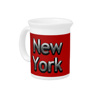 Industrial New York - On Red Drink Pitcher