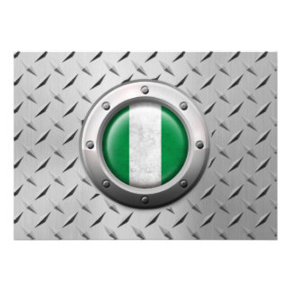Industrial Nigerian Flag with Steel Graphic Announcement