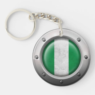 Industrial Nigerian Flag with Steel Graphic Acrylic Keychains